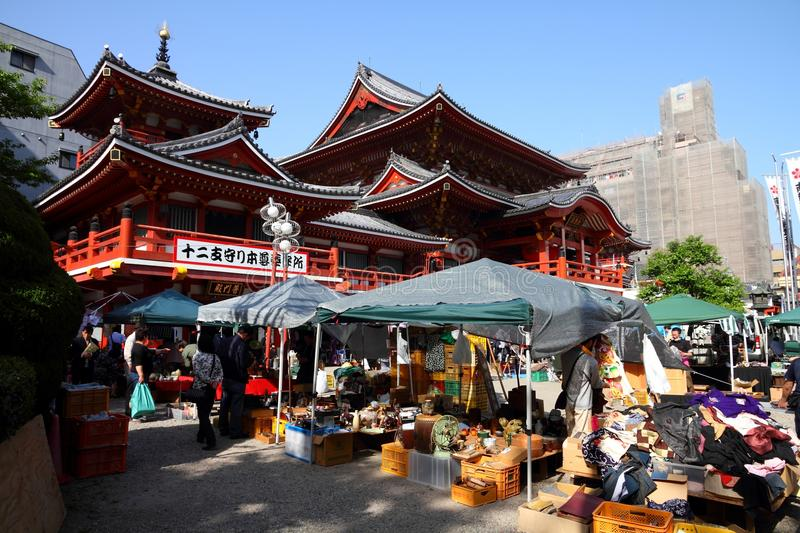 Nagoya, Japan. APRIL 28: People visit Osu Kannon flea market on April 28, 2012 in . The monthly flea market at Osu Kannon temple is a popular tourism royalty free stock photography