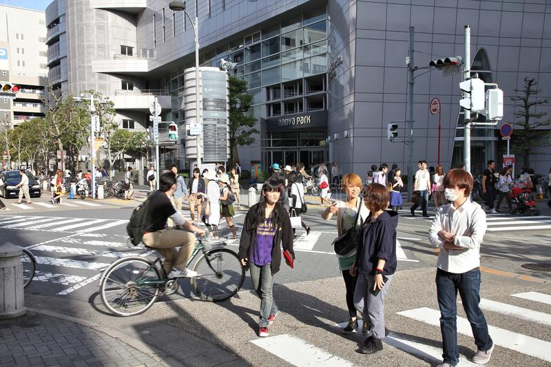Nagoya, Japan. APRIL 28, 2012: Unidentified people walk in . Nagoya is the third-largest incorporated city of Japan with 2.2 million people living here stock photos