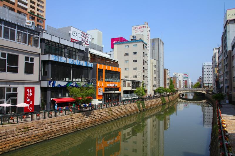 Nagoya, Japan. APRIL 29, 2012: Horikawa river view in downtown . With almost 9 million people Nagoya is the 3rd largest metropolitan area in Japan stock photo