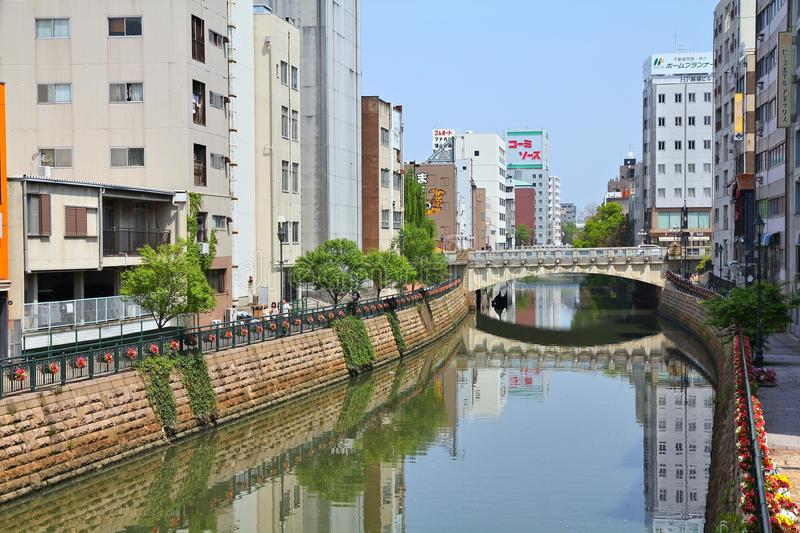 Nagoya City. NAGOYA, JAPAN - APRIL 29, 2012: Horikawa river view in downtown Nagoya, Japan. With almost 9 million people Nagoya is the 3rd largest metropolitan royalty free stock photography