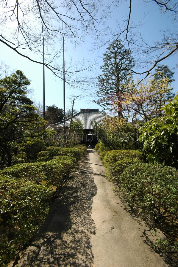 Toganji Temple in Nagoya, Japan. NAGOYA, JAPAN- 25 AUG, 2018: Toganji Temple in Nagoya, Japan. The Buddha stature in Togan-ji is called Nagoya Daibutsu royalty free stock images