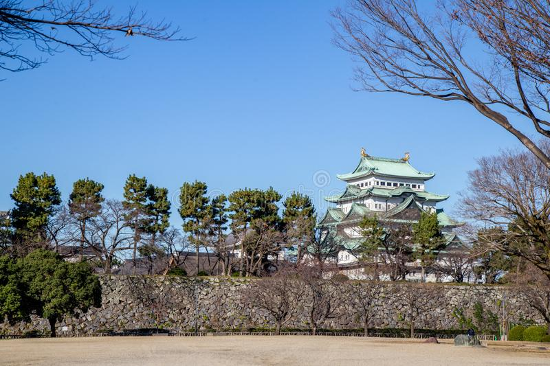 Nagoya Castle one of Landmark in Nagoya, Japan. Nagoya, Japan - December 2018 : Nagoya Castle in winter. Famous castle in Japan with green roof. Located in 1-1 royalty free stock image