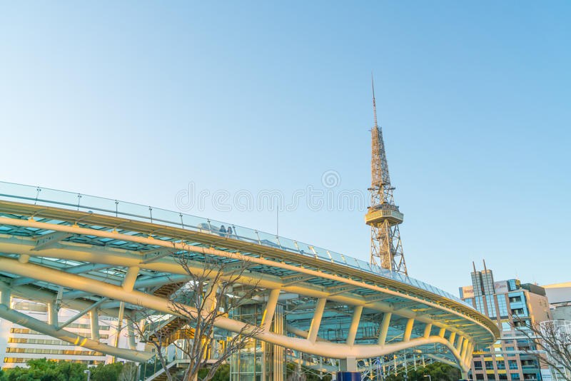 NAGOYA, JAPAN - FEB 07: Oasis 21 in Nagoya, Japan on FEB 07, 2016. A shopping complex nearby Nagoya Tower, its large oval glass r. Oof structure floats above stock photo