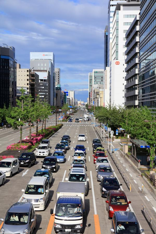 Nagoya, Japan. MAY 3, 2012: People drive in heavy traffic in . With 589 vehicles per capita, Japan is among most motorized countries worldwide, which causes stock images