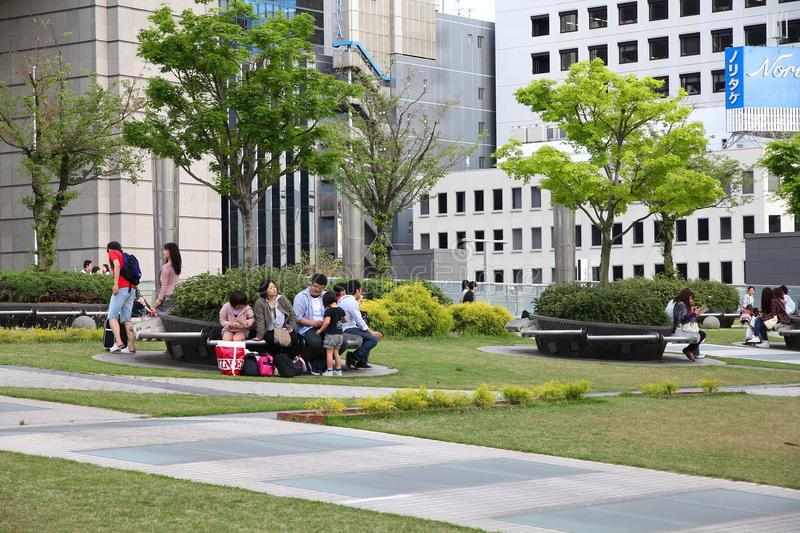 Nagoya, Japan. MAY 3: People visit Oasis 21 architecture complex on May 3, 2012 in . Oasis 21 has won multiple awards, including IESNA Award of Distinction stock images