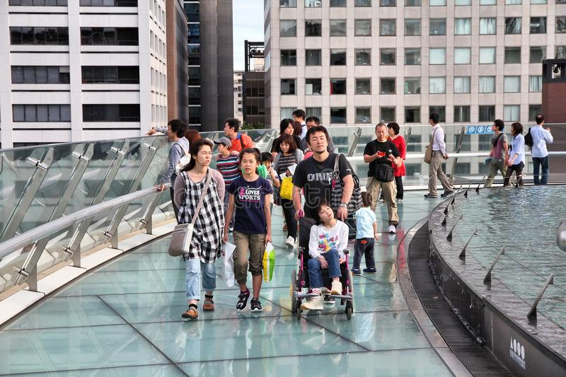 Nagoya, Japan. MAY 3, 2012: People visit Oasis 21 architecture complex in . Oasis 21 has won multiple awards, including IESNA Award of Distinction stock image