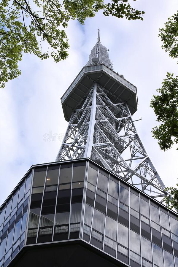 Nagoya, Japan. MAY 3, 2012: Nagoya TV Tower in . The building was finished in 1954, is 180m tall and is one of Nagoya landmarks royalty free stock photography