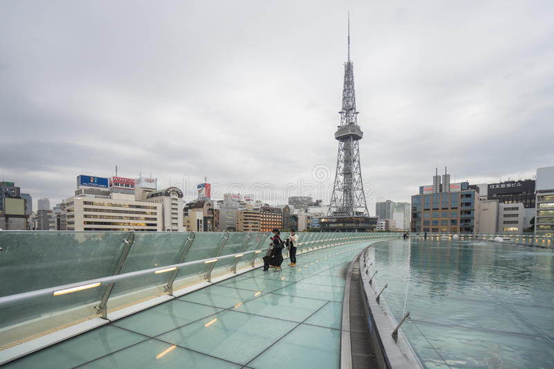 Nagoya, Japan - November 21,2016. Roof Floor of Oasis 21, Oasis. 21 is a modern facility located adjacent to Nagoya TV Tower in Sakae, contains restaurants stock photos