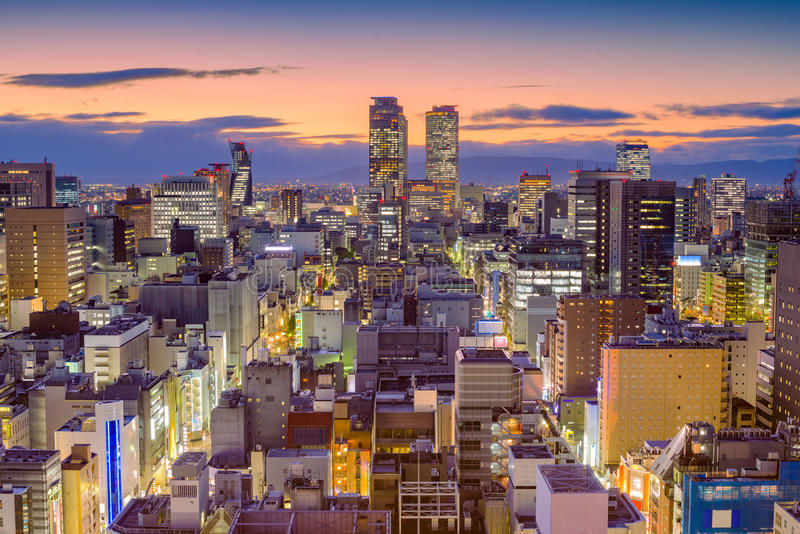 Nagoya, Japan Skyline. Nagoya, Japan aerial view of the downtown city skyline at dusk stock photo