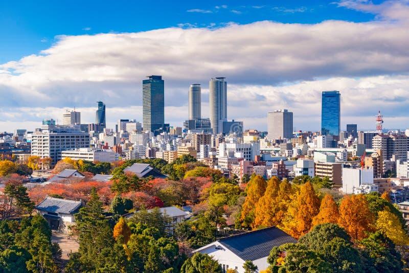 Nagoya, Japan Skyline. Nagoya, Japan downtown city skyline in the autumn royalty free stock photo