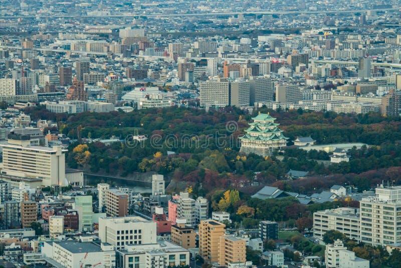 Nagoya, Japan - stad in het gebied van Chubu Luchtmening met sk royalty-vrije stock afbeeldingen
