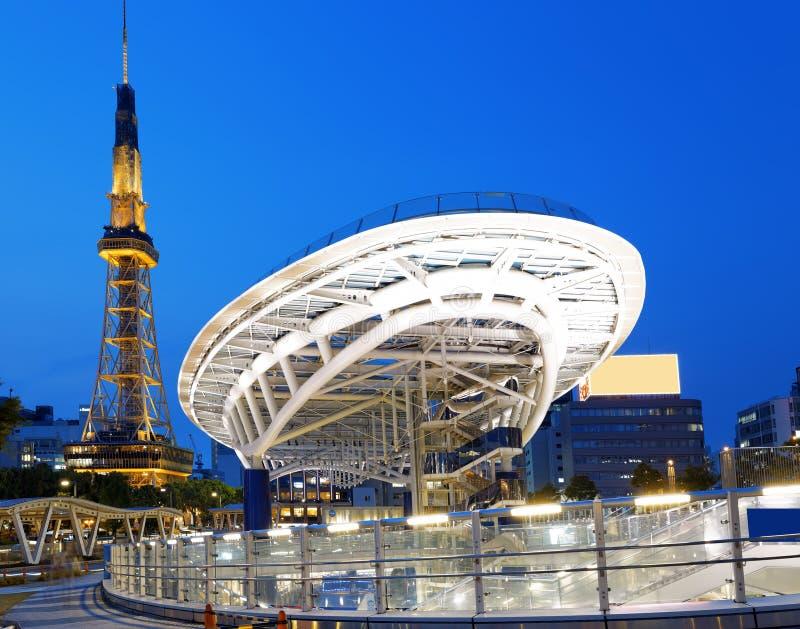 Nagoya Japan stadshorisont med det Nagoya tornet arkivbild