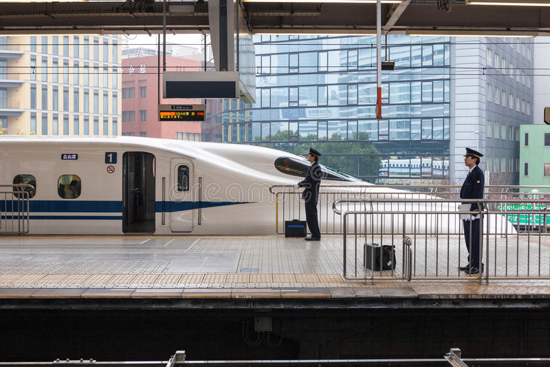 Nagoya Japonia, Kwiecień, - 1,2015: N700A serie Nozomi zdjęcia stock