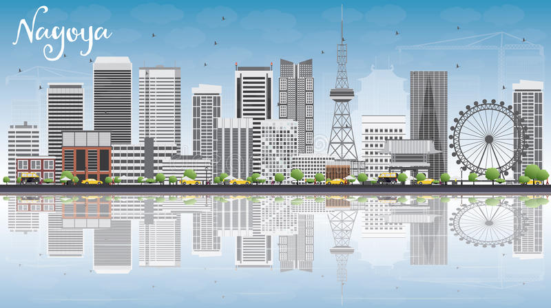 Nagoya Skyline with Gray Buildings, Blue Sky and Reflections. Vector Illustration. Business and Tourism Concept with Modern Buildings. Image for Presentation vector illustration