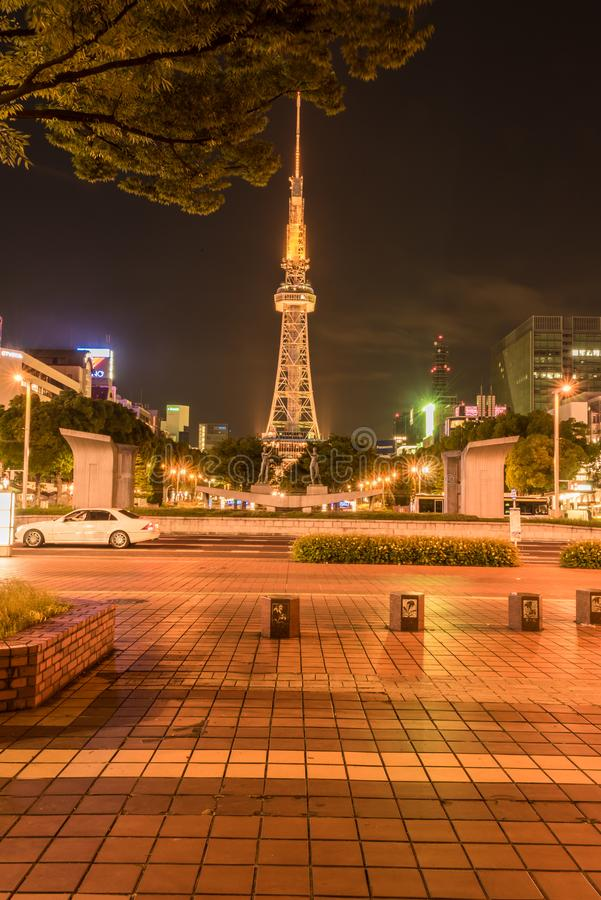 Sakae Tower. The Nagoya TV Tower was completed in 1954 and was the first TV tower built in Japan. The tower is 180 meters tall and houses a viewing platform stock image