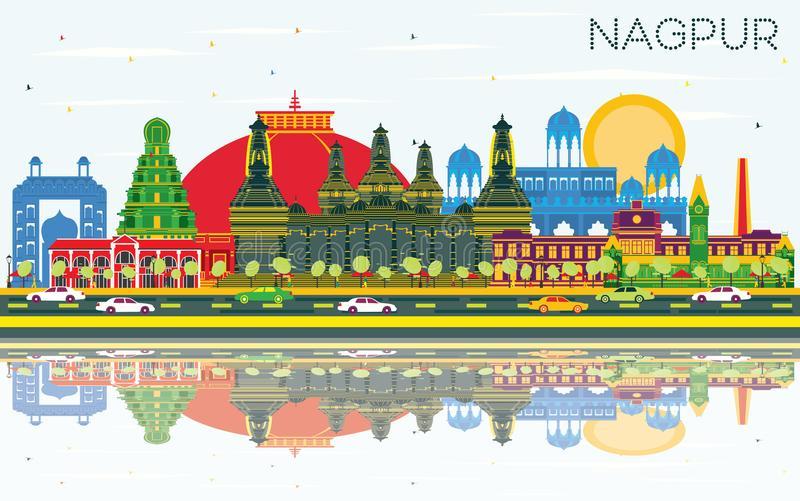 Nagpur India City Skyline with Color Buildings, Blue Sky and Ref. Lections. Vector Illustration. Business Travel and Tourism Concept with Historic Architecture stock illustration