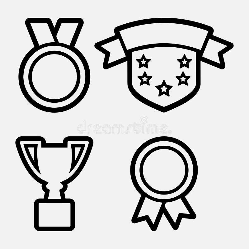 Nagród ikony - medale, filiżanka, osłona r?wnie? zwr?ci? corel ilustracji wektora ilustracja wektor