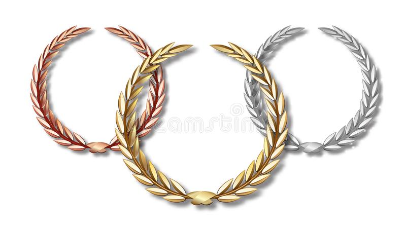 Nagradza bobka ustawiającego odizolowywającym na białym tle pierwszy miejsca drugi trzeci Zwycięzcy szablon Symbol zwycięstwo i royalty ilustracja