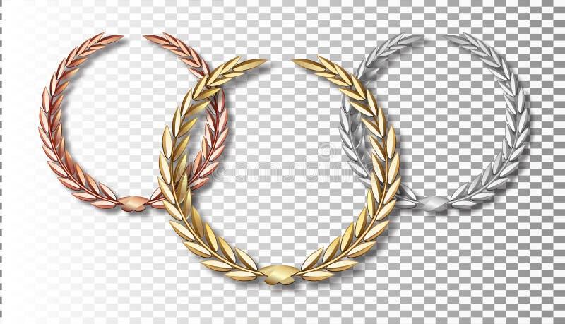 Nagradza bobka ustawiającego odizolowywającym na przejrzystym tle pierwszy miejsca drugi trzeci Zwycięzcy szablon Symbol zwycięst ilustracja wektor