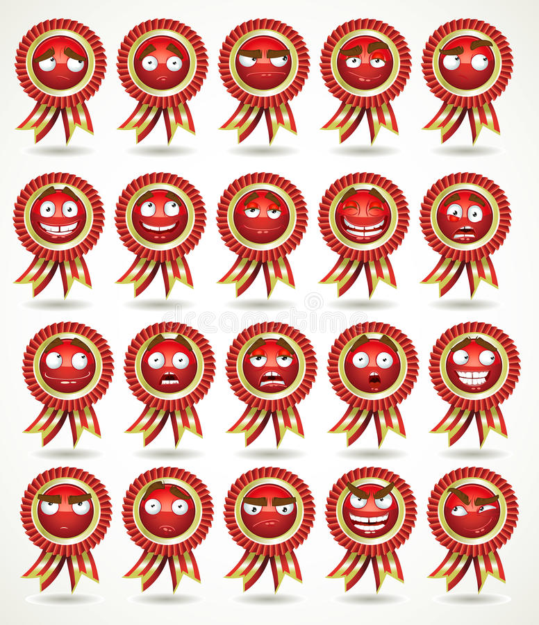 nagradza różnorodnego setu emocjonalnego czerwonego stat ilustracja wektor