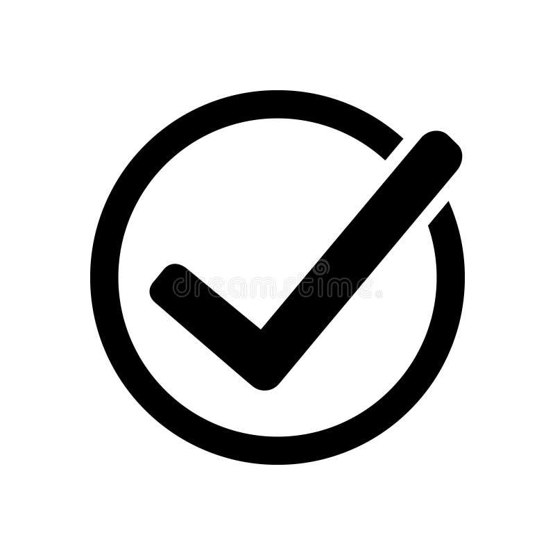 Nagradza wektorową ikonę, odznaka z faborek ikoną, zatwierdzenia illustrationTick ikony wektorowy symbol, checkmark odizolowywają royalty ilustracja