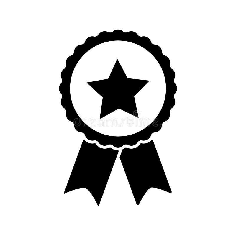 Nagradza wektorową ikonę, odznaka z faborek ikoną ilustracji