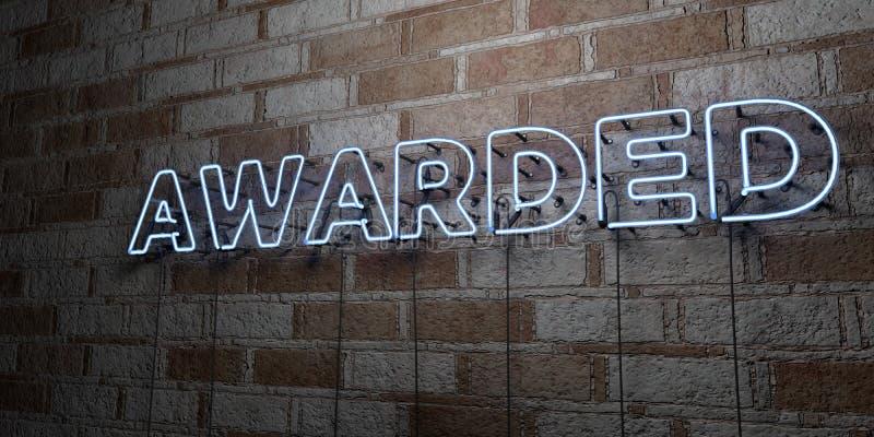 NAGRADZAJĄCY - Rozjarzony Neonowy znak na kamieniarki ścianie - 3D odpłacająca się królewskości bezpłatna akcyjna ilustracja ilustracji