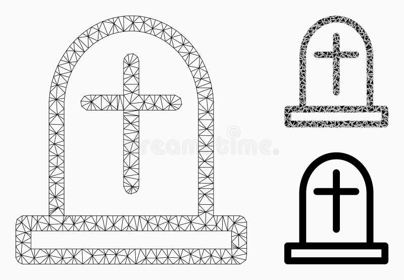 Nagrobek siatki Drucianej ramy trójboka i modela mozaiki Wektorowa ikona ilustracji