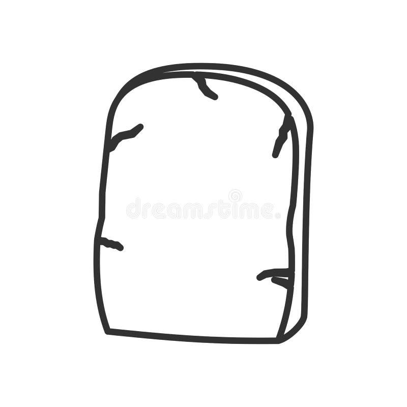 Nagrobku konturu Płaska ikona na bielu royalty ilustracja