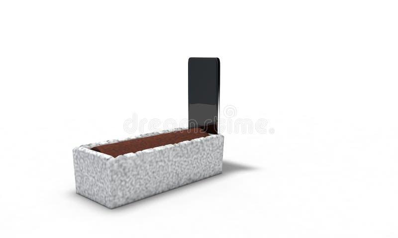 Nagrobku telefon komórkowy na białym 3d, odpłaca się royalty ilustracja
