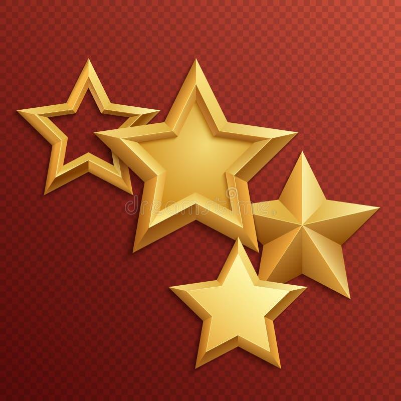 Nagroda błyszczącego metalu złote gwiazdy ilustracja wektor