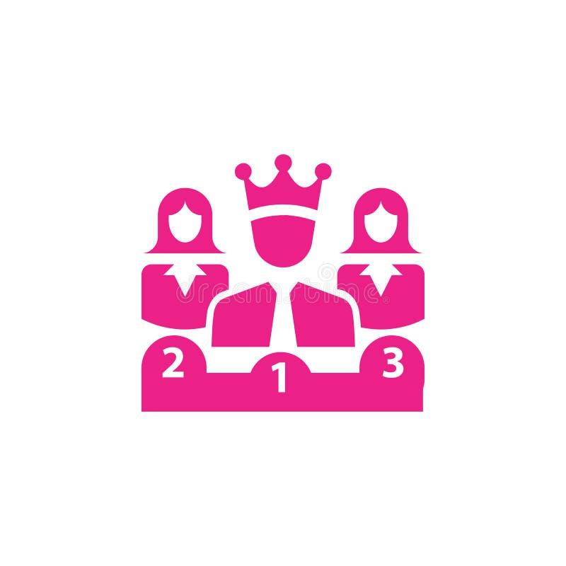 Nagroda, biznes kategoria, sukces, drużyna, zwycięzca, korona na głów menchiach barwi ikonę ilustracji