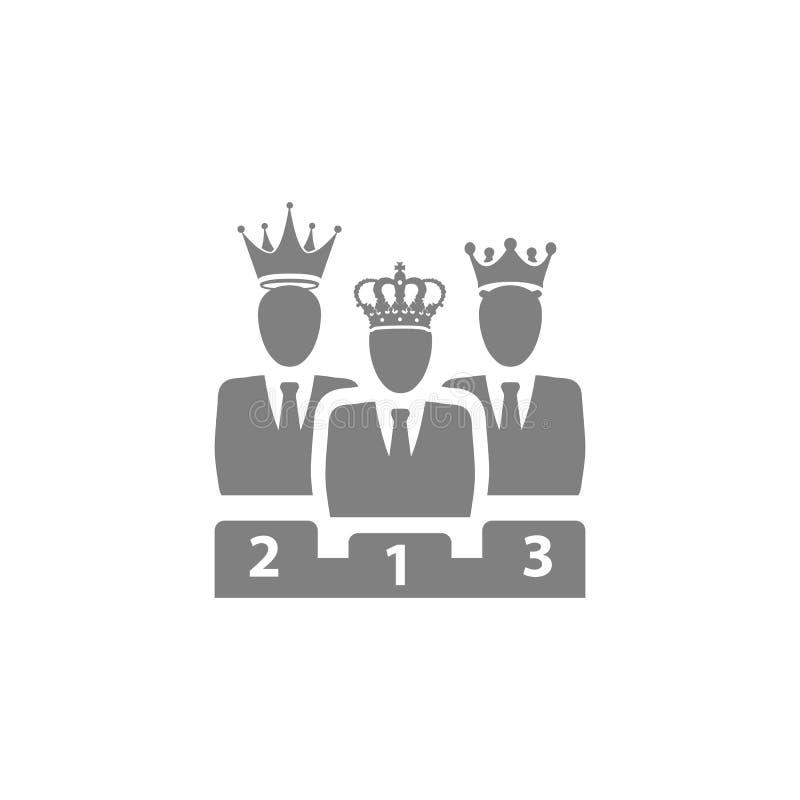 Nagroda, biznes kategoria, sukces, drużyna, zwycięzca, korona na głowa koloru popielatej ikonie ilustracja wektor