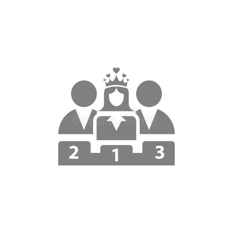Nagroda, biznes kategoria, sukces, drużyna, zwycięzca, korona na głowa koloru popielatej ikonie ilustracji