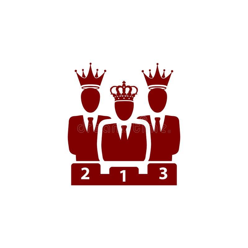 Nagroda, biznes kategoria, sukces, drużyna, zwycięzca, korona na głowie wałkoni się kolor ikonę ilustracji