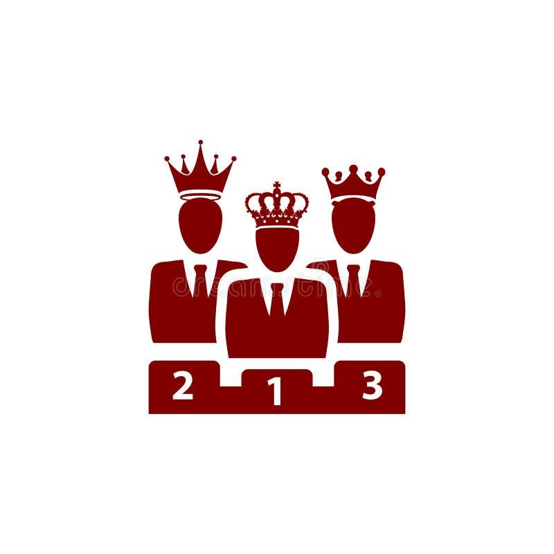 Nagroda, biznes kategoria, sukces, drużyna, zwycięzca, korona na głowie wałkoni się kolor ikonę ilustracja wektor