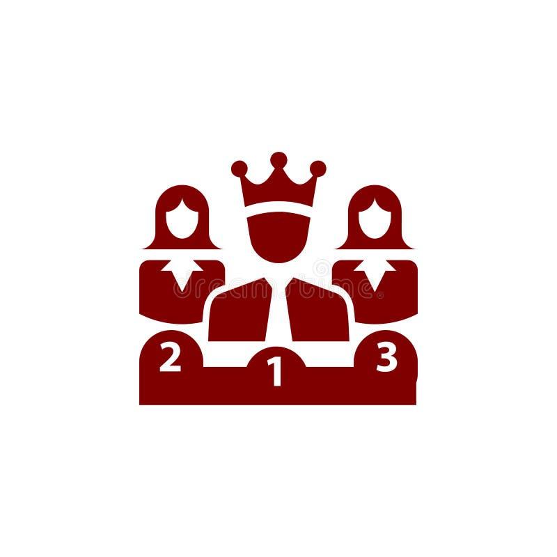 Nagroda, biznes kategoria, sukces, drużyna, zwycięzca, korona na głowie wałkoni się kolor ikonę royalty ilustracja