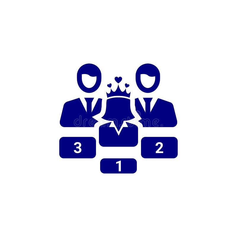 Nagroda, biznes kategoria, sukces, drużyna, zwycięzca, korona na kierowniczej błękitnej kolor ikonie royalty ilustracja