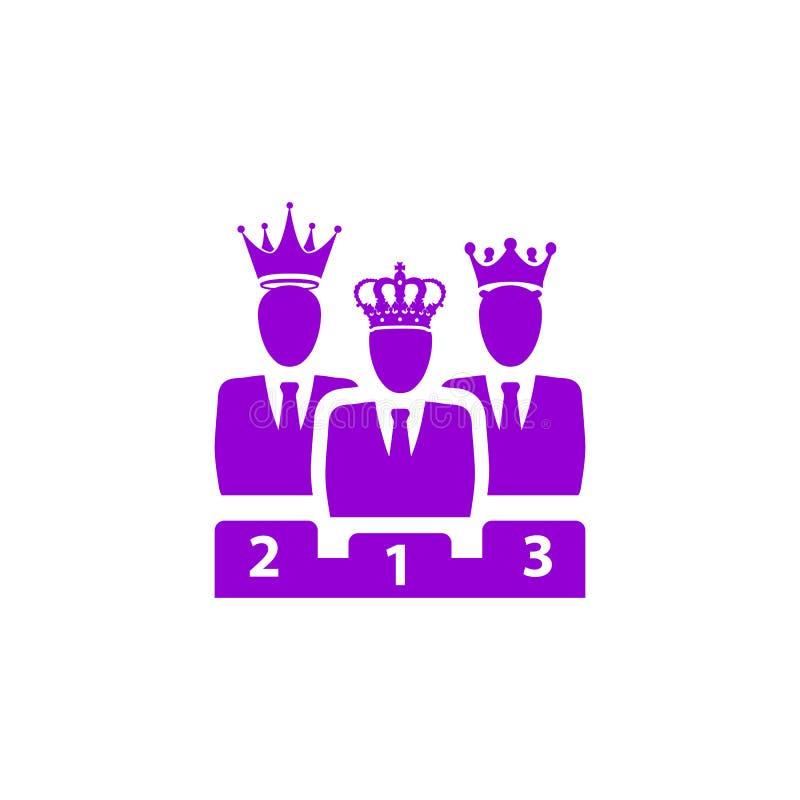 Nagroda, biznes kategoria, sukces, drużyna, zwycięzca, korona na kierowniczej fiołkowej kolor ikonie ilustracja wektor
