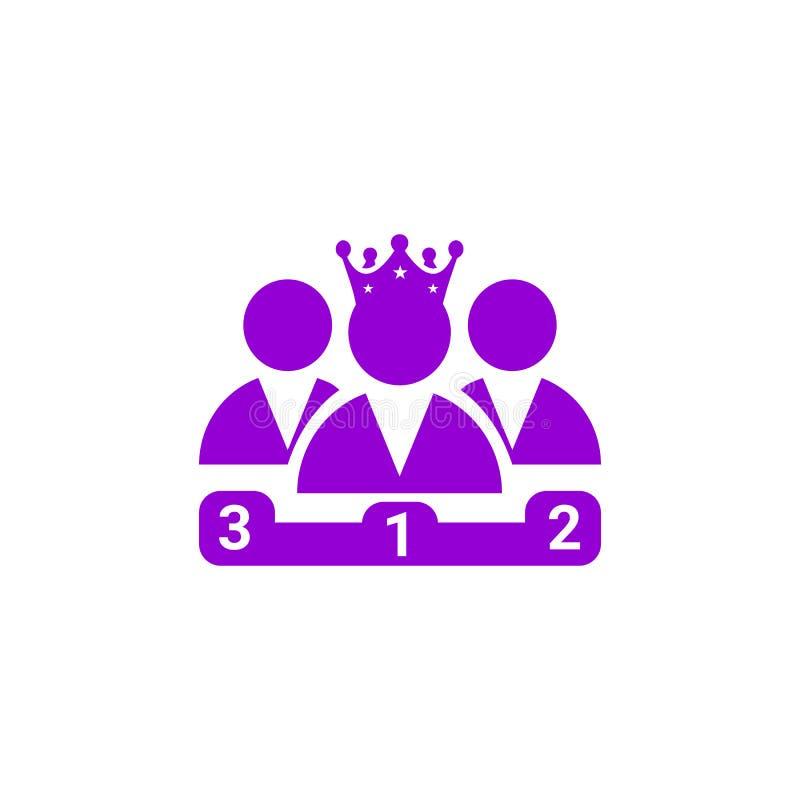 Nagroda, biznes kategoria, sukces, drużyna, zwycięzca, korona na kierowniczej fiołkowej kolor ikonie royalty ilustracja