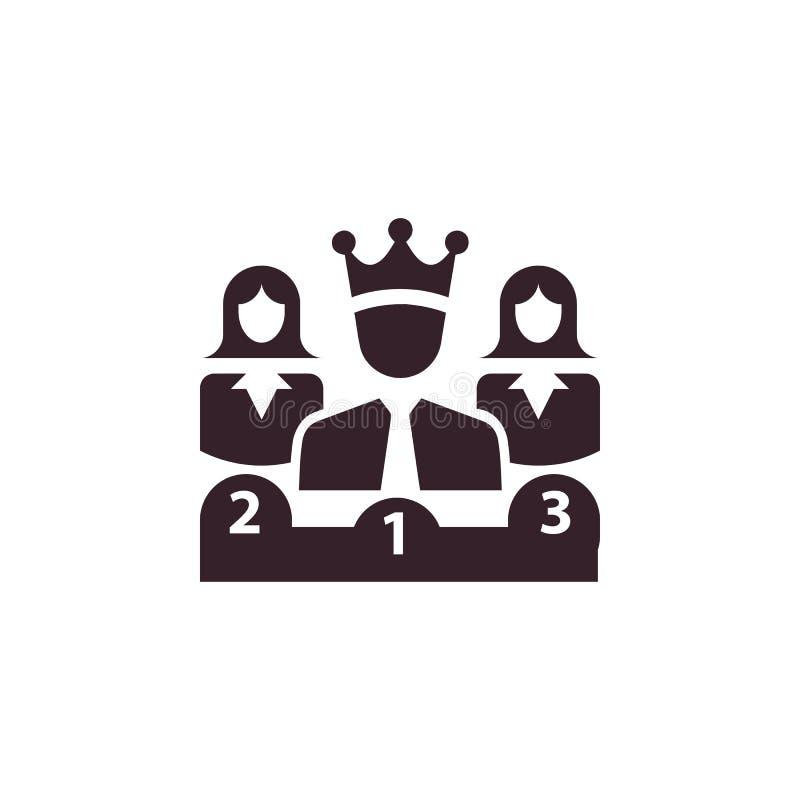 Nagroda, biznes kategoria, sukces, drużyna, zwycięzca, korona na kierowniczej ikonie royalty ilustracja