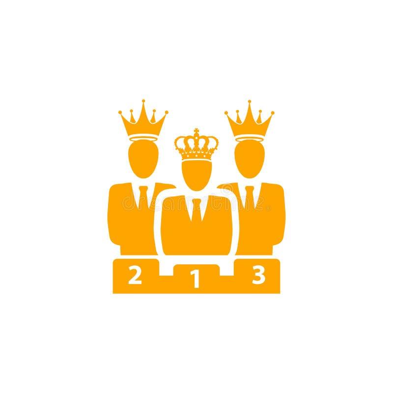 Nagroda, biznes kategoria, sukces, drużyna, zwycięzca, korona na kierowniczej pomarańczowej kolor ikonie ilustracja wektor