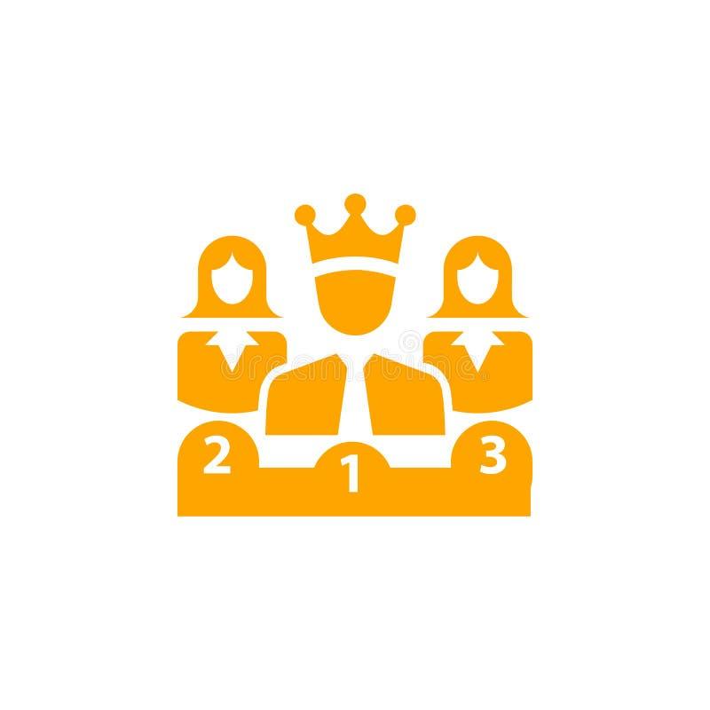 Nagroda, biznes kategoria, sukces, drużyna, zwycięzca, korona na kierowniczej pomarańczowej kolor ikonie royalty ilustracja