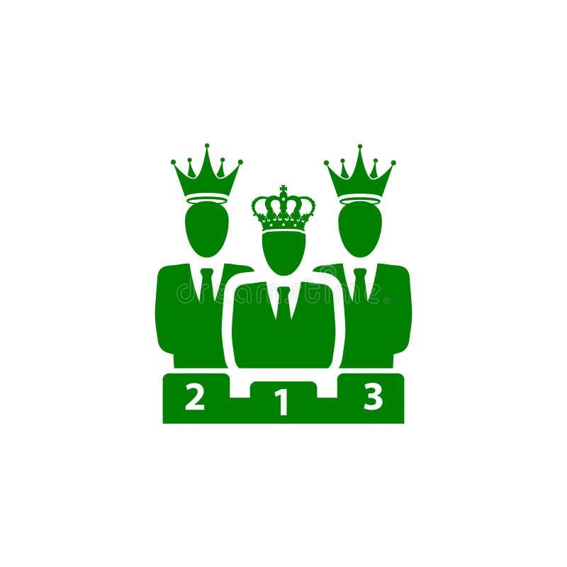 Nagroda, biznes kategoria, sukces, drużyna, zwycięzca, korona na kierowniczej zielonego koloru ikonie ilustracji