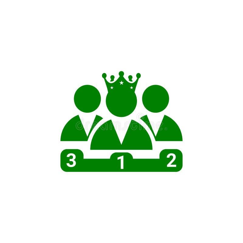 Nagroda, biznes kategoria, sukces, drużyna, zwycięzca, korona na kierowniczej zielonego koloru ikonie royalty ilustracja
