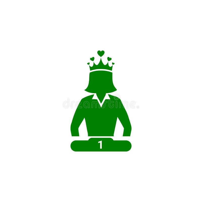Nagroda, biznes kategoria, sukces, drużyna, zwycięzca, korona na kierowniczej zielonego koloru ikonie ilustracja wektor