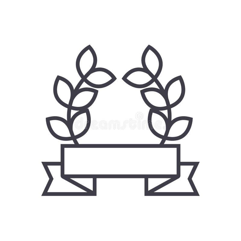 Nagroda faborek z liścia wektoru linii ikoną, znak, ilustracja na tle, editable uderzenia ilustracja wektor