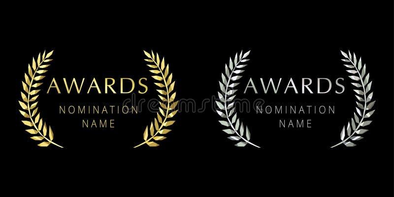 Nagroda logotypu witrażu palm krystaliczne gałąź royalty ilustracja