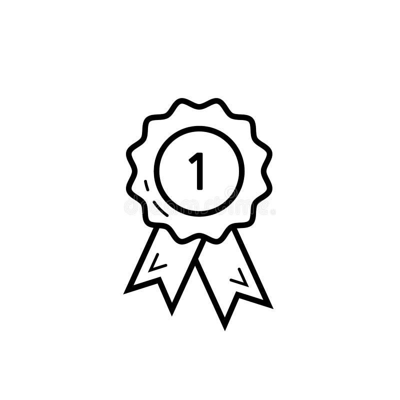 Nagroda medal lubi 1st ikonę Najlepszy ilości odznaki medalu sieci sklepu ikony wektor eps10 Najpierw miejsce medalu ikona royalty ilustracja