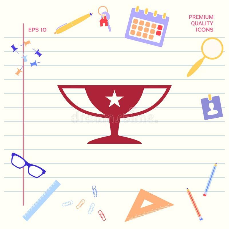 Nagroda mistrzów filiżanki ikona z gwiazdą ilustracji